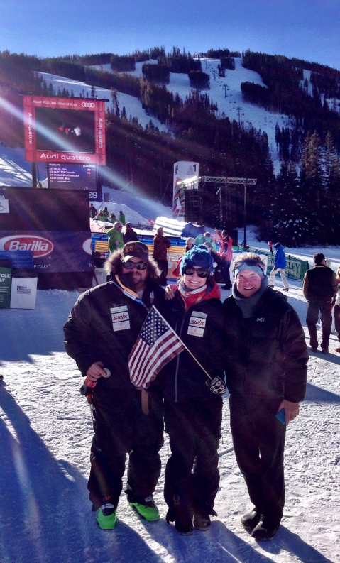 Spectating the downhill in Beaver Creek with my dad and Pat, GO USA!