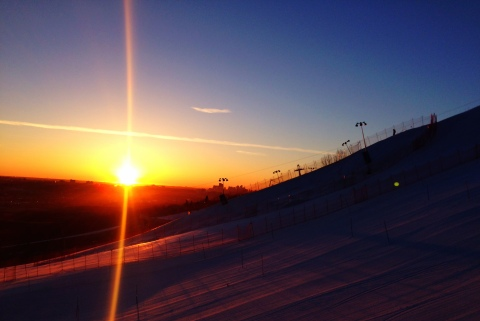 Up early for slalom race day!  Sunrise over Calgary.