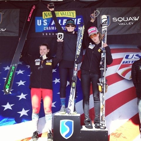 Back on top of the giant slalom podium, wahoo!  Photo Credit: Resi Stiegler
