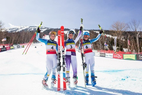 It is always nice to be on the podium!  In the finish of the Giant Slalom at U.S. National Championships