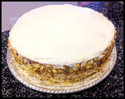 Banana Cake with Cream Cheese Frosting and Walnuts