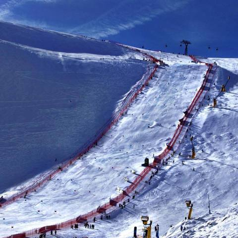 The race hill for the World Cup Opener in Soelden, Austria. It was steep and icy! Thank you to Pat Duran with Volkl skis for getting me out of the start house!