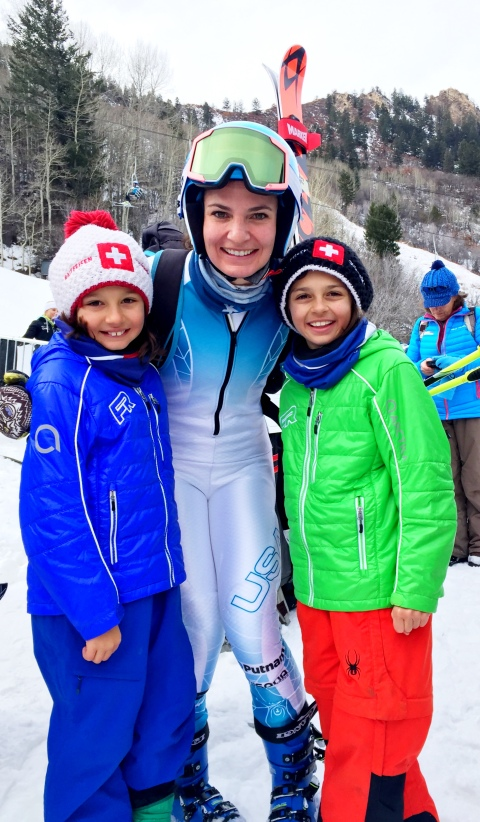 Little fans & friends cheering me on at the #aspenwinternational !!!